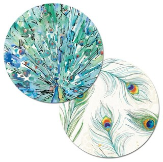 Reversible Round Plastic Placemats, Peacock Garden, Set of ...