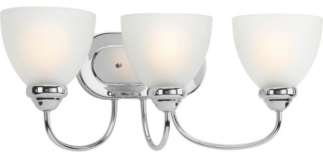 Avalon Polished Chrome Bathroom Vanity Ceiling Lights: Heart 3-Light Bath Vanity, White Etched Glass