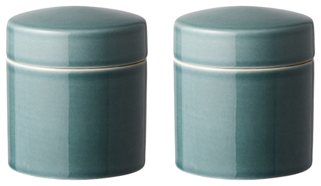 Small Kitchen Canisters, Teal, Set of 2