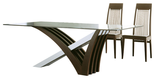Rossetto Mirage Glass Top Dining Table Set, Wenge Contemporary Dining Sets