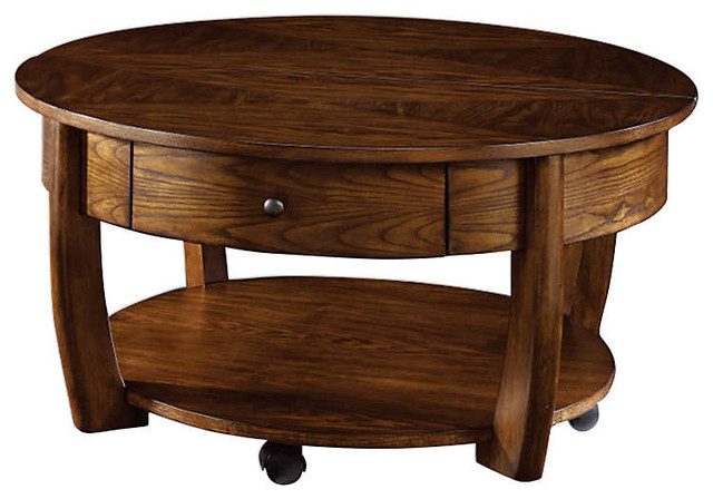 Concierge Round Cocktail Table By Hammary, Medium Brown