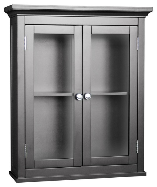 Espresso Finish Madison Avenue Wall Cabinet w Glass Doors ...