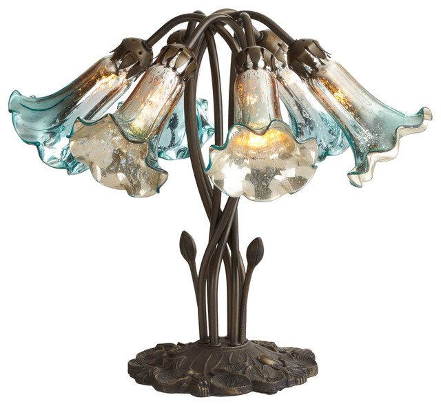 """Antique Silver Table Lamp 24 Cream Accent Lighting: 16.75"""" Mercury Glass 6-Lily Downlight Accent Lamp"""