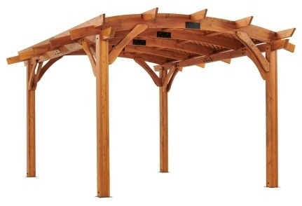 12&x27;x16&x27; Sonoma Arched Wood Pergola With Lattice Roof And Privacy Wall, Redwood.