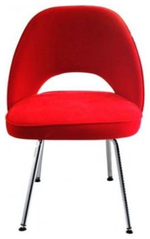 Mid Century Modern Red Velvet Executive Chair