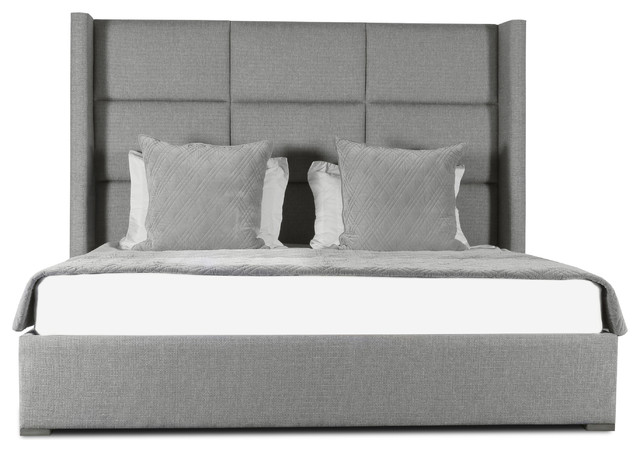 Stella Square Tufted High Height King Size Bed, Gray.