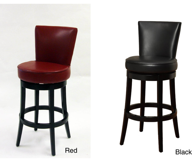 Leather counter stool set of 2 ivory contemporary bar stools - Bi Cast Leather Black Wood Swivel Barstool Contemporary