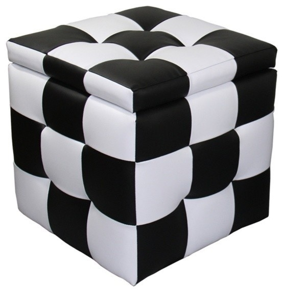 Fabulous 16H Checkered Block Storage Ottoman 1 Seating Bralicious Painted Fabric Chair Ideas Braliciousco