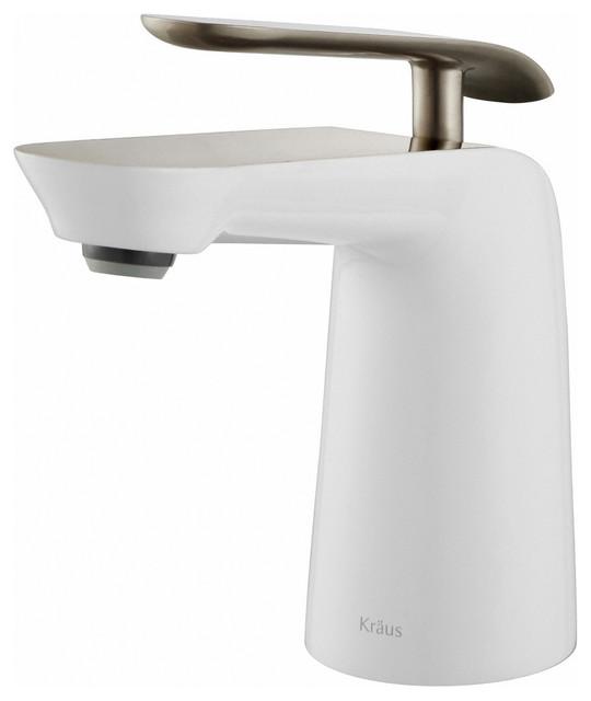 KRAUS Seda Single Hole 1-Handle Bathroom Faucet With Drain, Brushed Nickel White