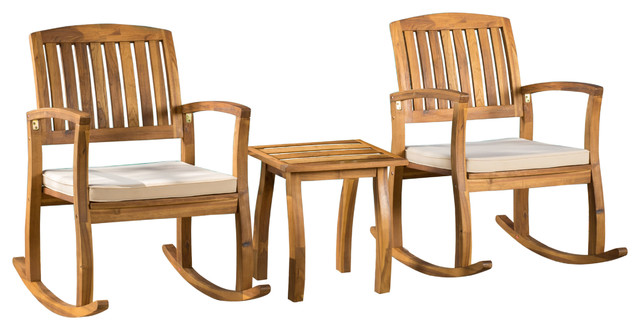 South Hampton Rocking Chair With Cushion And Accent Table, 3 Piece Set.