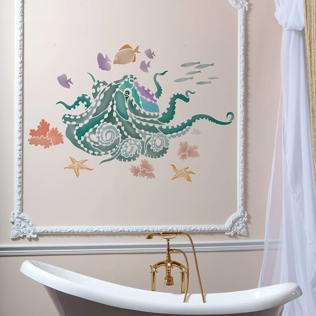 Beautiful Octopus Garden Wall Art Stencil, Trendy, Easy DIY Wall Designs Beach Style
