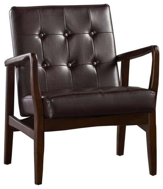Callisto Mid Century Modern Faux Leather Club Chair with Wood Frame