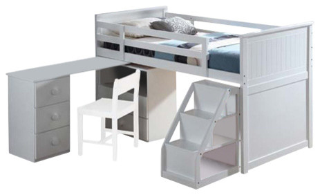 Acme Wyatt Loft Bed With Chest And Swivel Desk/ladder, White.