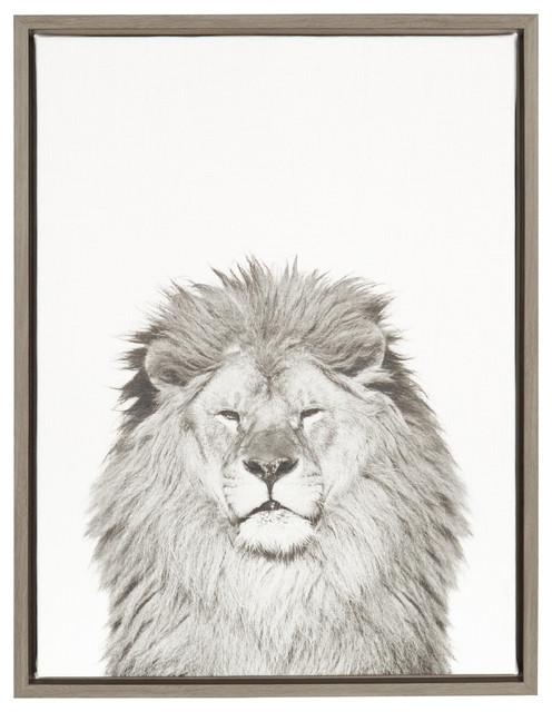 Sylvie Lion 18x24 Gray Framed Canvas Wall Art By Simon Te