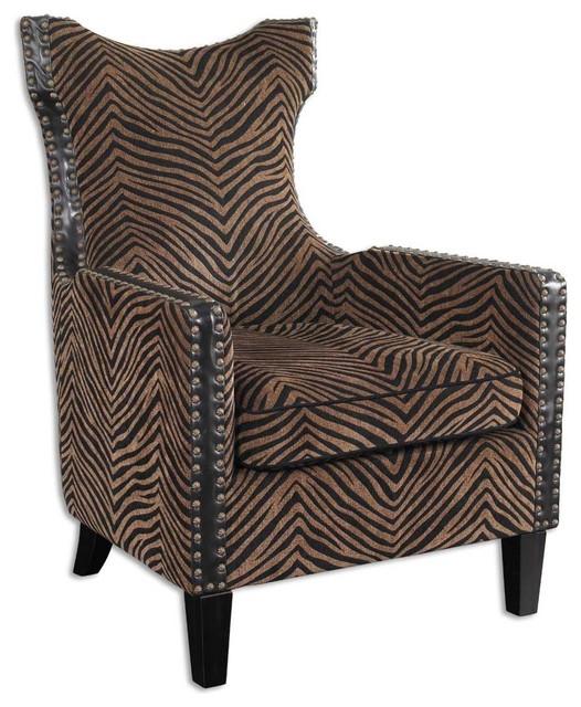 Kimoni Zebra Print Wing Back Armchair by Uttermost