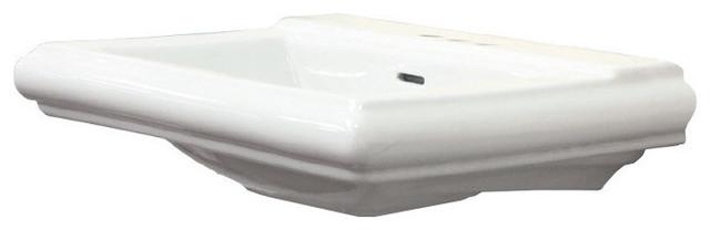 Avalon Vitreous China Pedestal Sink Only, White.