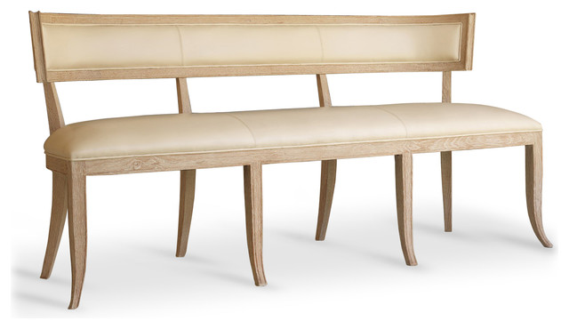 Minnelli Hollywood Regency Ivory Leather Dining Entry Bench Transitional  Dining Benches