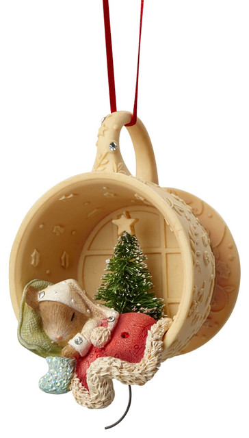 enesco heart of christmas mouse sleeping in cup ornament - Christmas Mouse Decorations