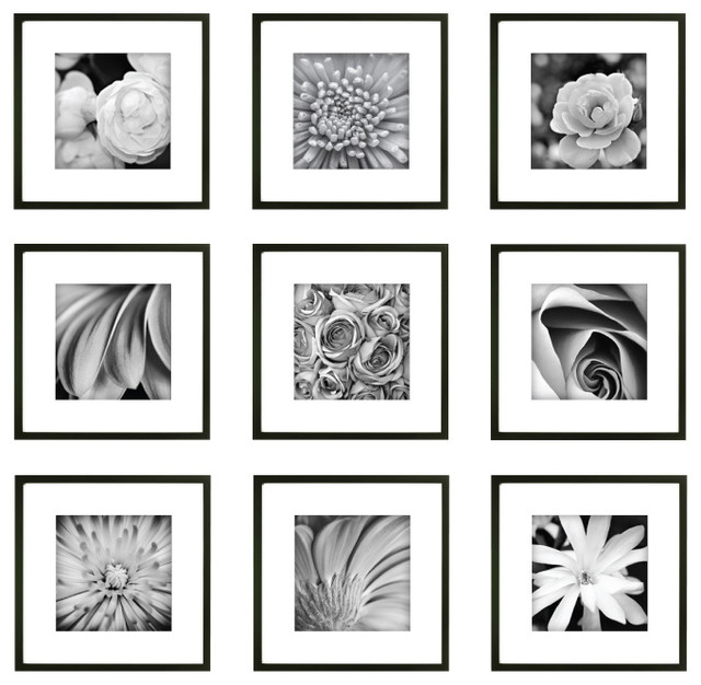 gallery perfect 9 piece square frame set black modern artwork