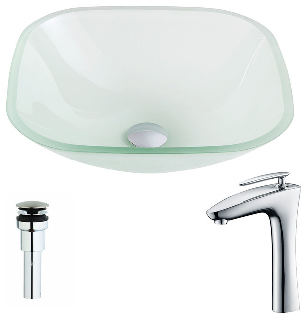 Vista Series Deco-Glass Vessel Sink, Lustrous Frosted, Fann Faucet.