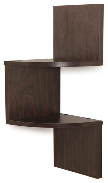 Laminated 2-Tier Corner Shelf, Walnut contemporary-display-and-wall-