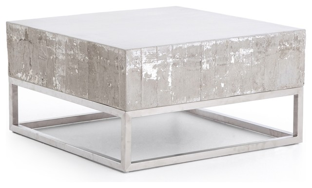 29 W Evan Coffee Table Square Industrial Concrete Top Chrome Steel Base