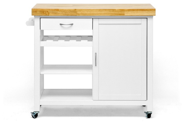 White Kitchen Trolley denver white modern kitchen cart with butcher block top