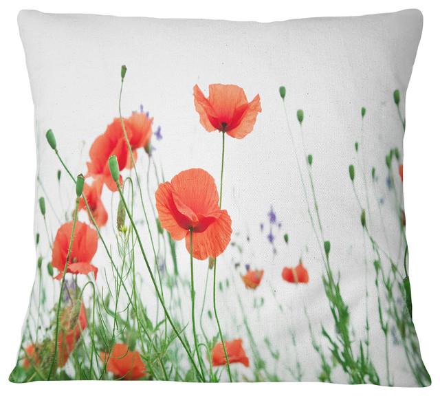 Groovy Poppy Flowers On White Background Floral Throw Pillow 26X26 Inzonedesignstudio Interior Chair Design Inzonedesignstudiocom