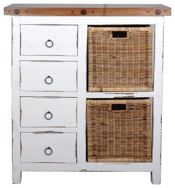 Cottage Whitewashed Basket Cabinet.