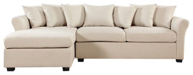 Modern Large Linen Sectional Sofa With, Large Linen Fabric Sectional Sofa With Left Facing Chaise Lounge