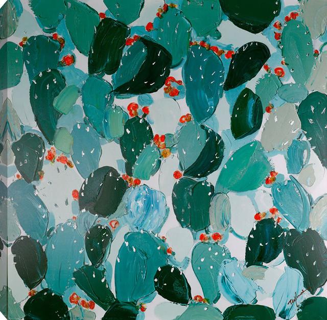 "Cactus Ii Acrylic Painting On Canvas, 40""x40""."