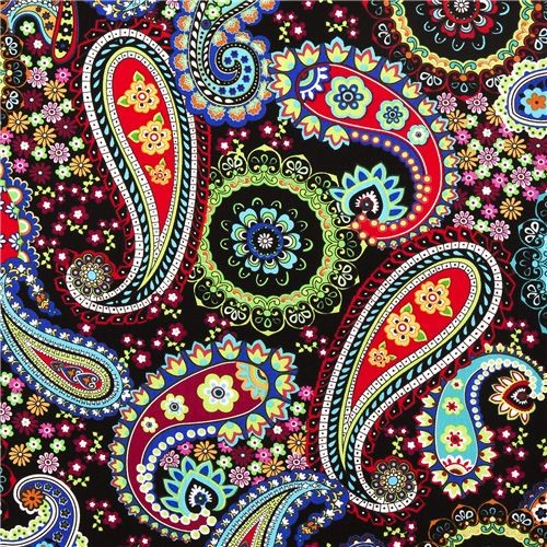 Black Paisley Flower Timeless Treasures Fabric