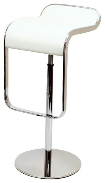 Premium Barstool in White Leather Chrome Steel Frame contemporary bar stools and
