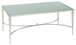 Mallory Rectangular Cocktail Table by Hammary, Brushed Nickel