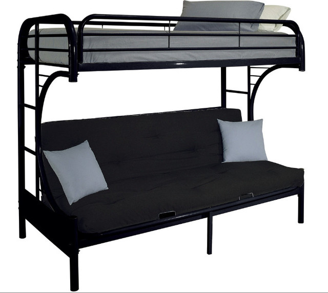 cabot extra long twin over queen futon bunk bed black beds