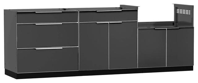 Stirton Outdoor Kitchen Grill Insert Cabinet Aluminum Slate