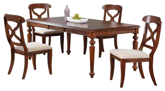 Chichester 5 Piece Dining Set With Butterfly Leaf, Chestnut