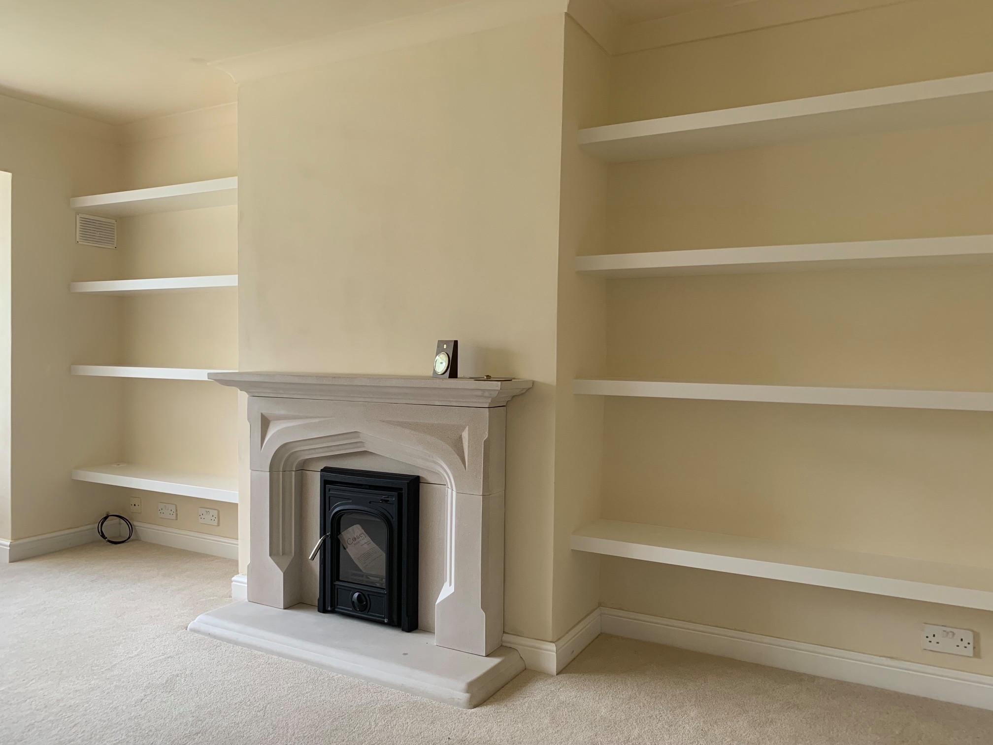 Extra wide brilliant white modern chunky floating shelves