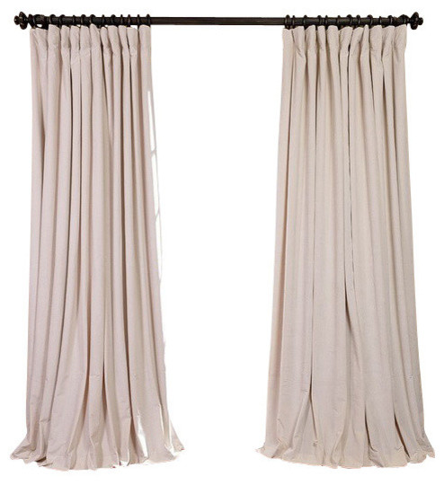 "Vivienne Velvet Blackout Curtain Panel, Pearl, 100""x96""."