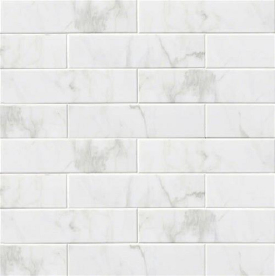 "White Kitchen Wall Tiles 4""x16"" subway backsplash tile ceramic, glossy white carrara"