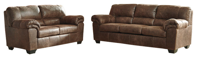 Coffee Leather Living Set.