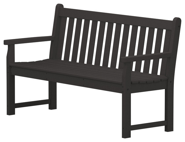 Magnificent Polywood Traditional Garden 60 Bench In Black Inzonedesignstudio Interior Chair Design Inzonedesignstudiocom