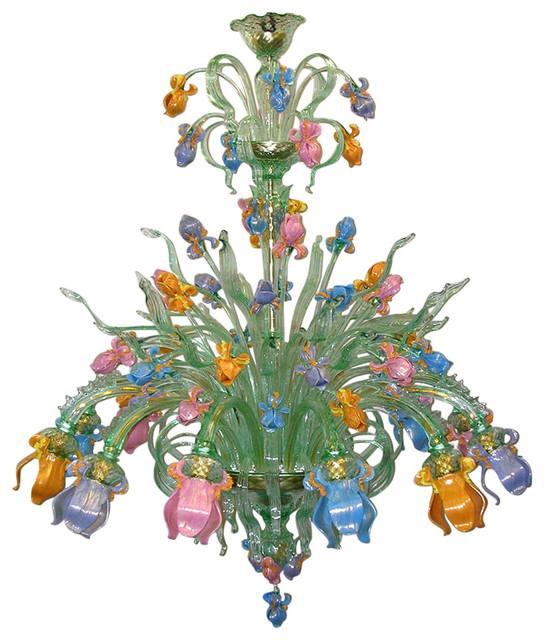 Iris Verde Murano Glass Chandelier