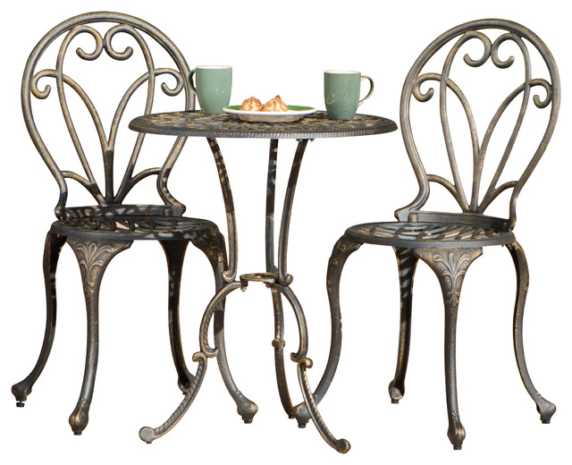 windsor dark gold cast aluminum bistro 3 piece set mediterranean outdoor pub - Garden Furniture 3 Piece