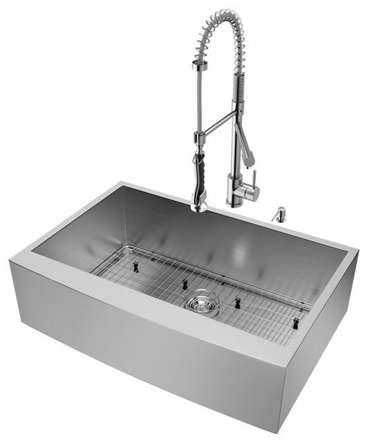 """Vigo All-In-One Camden Stainless Steel Farmhouse Kitchen Sink Set, 33""""."""