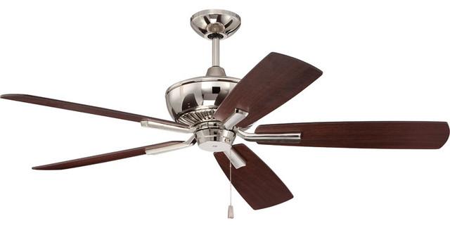 """Ellington Dun52pln5, Dunbar Polished Nickel 52"""" Ceiling Fan."""