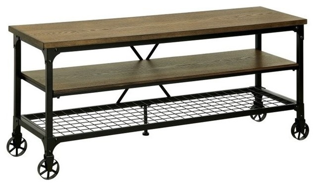 """... TV Stand, Medium Oak, 54"""" - Industrial - Entertainment Centers And Tv"""