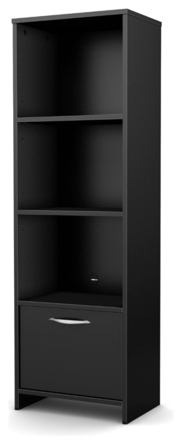 modern bookcase with 3 shelves and bottom door black bookcases by hearts attic. Black Bedroom Furniture Sets. Home Design Ideas