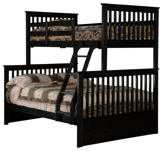 Wood Twin-Over-Full Bunkbed, Black.