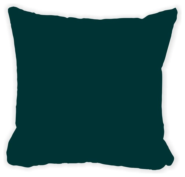 Dark Green Microfiber Throw Pillow With Fill